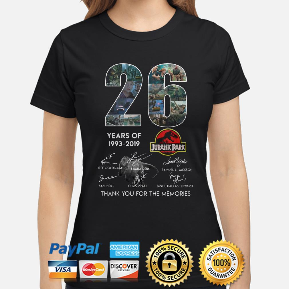 26 years of Jurassic Park thank you for the memories ladies shirt