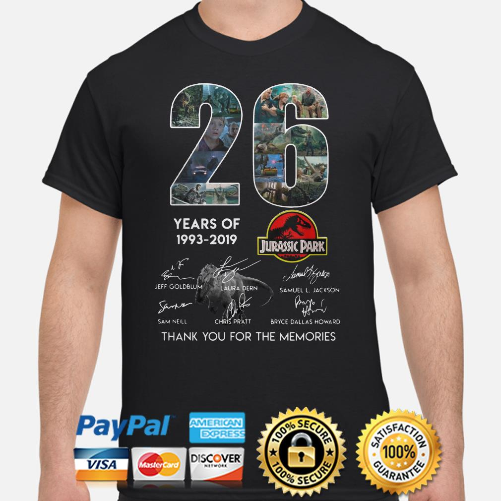 26 years of Jurassic Park thank you for the memories shirt