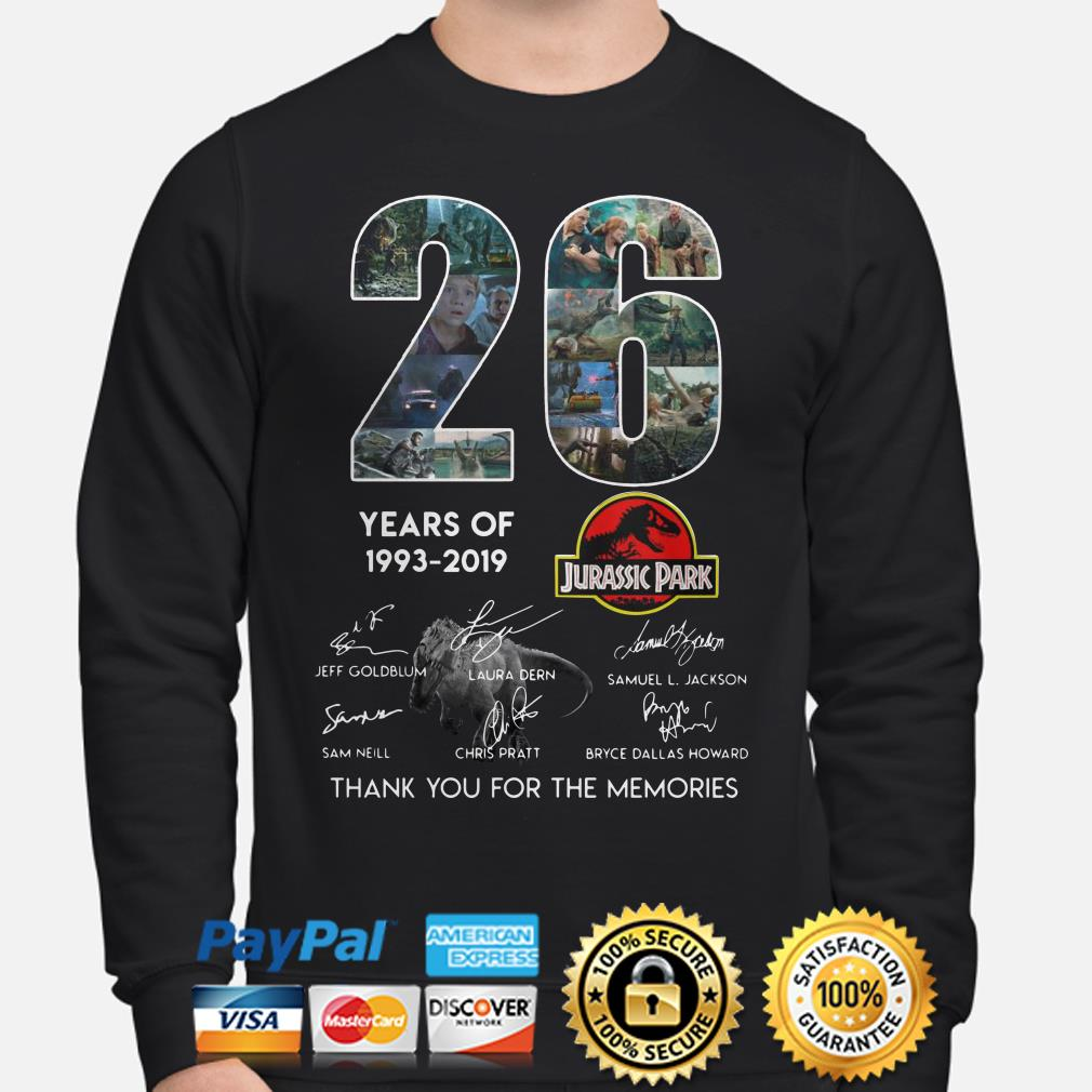 26 years of Jurassic Park thank you for the memories sweater