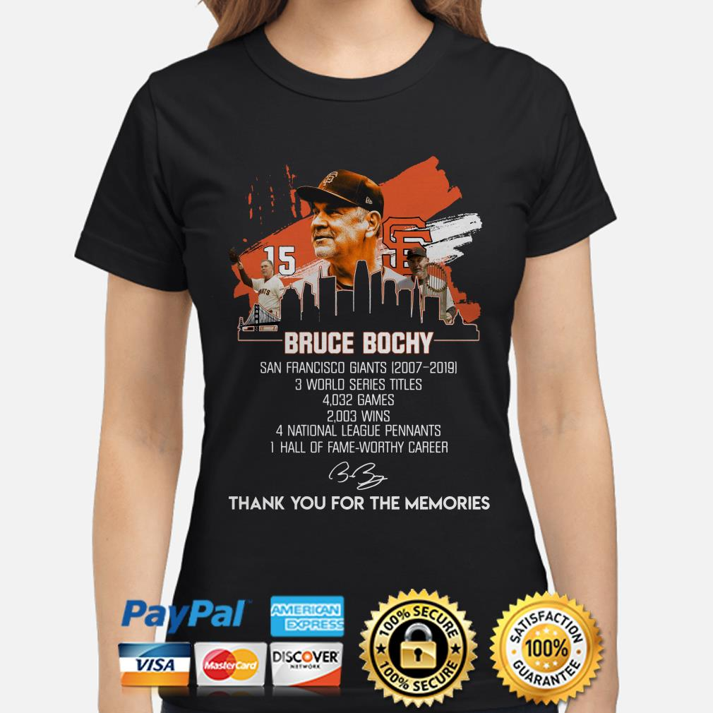 Bruce Bochy thank you for the memories ladies shirt
