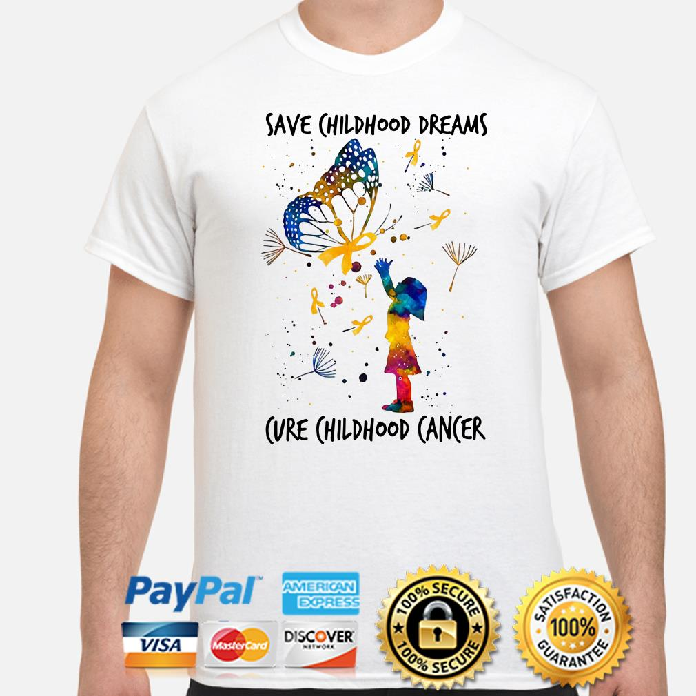 Butterfly dandelions save childhood dreams cure childhood cancer shirt