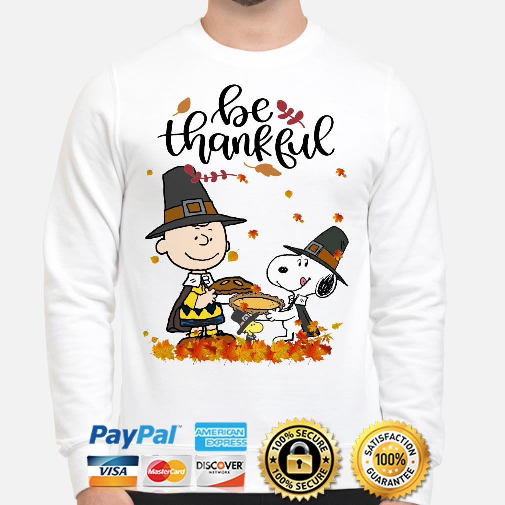 Charlie Brown and Snoopy be thankful Thanksgiving sweater