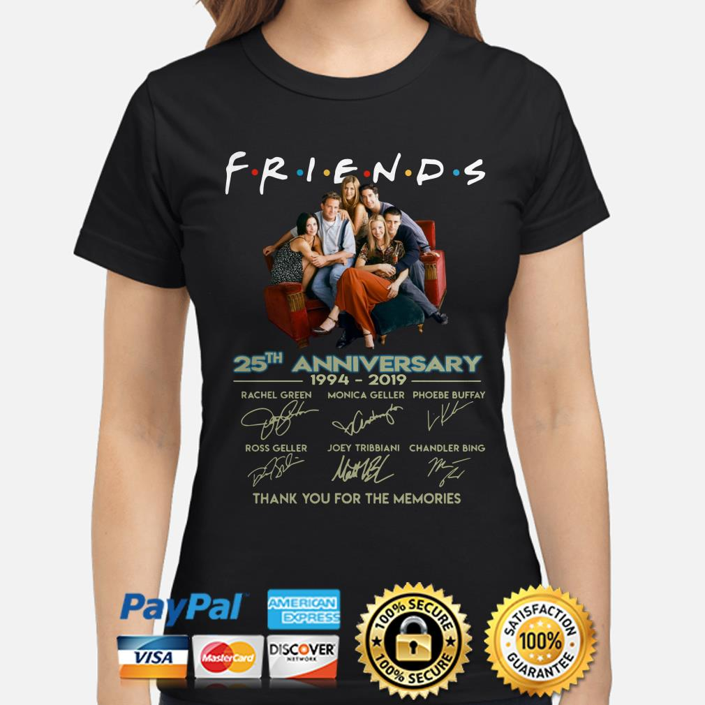 Friends 25th Anniversary thank you for the memories ladies shirt
