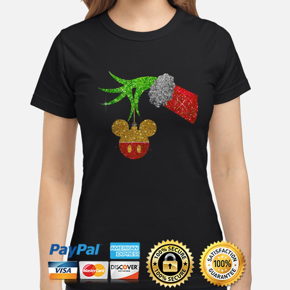 Grinch holding Mickey ornament ladies shirt
