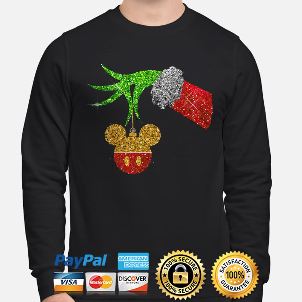 Grinch holding Mickey ornament sweater
