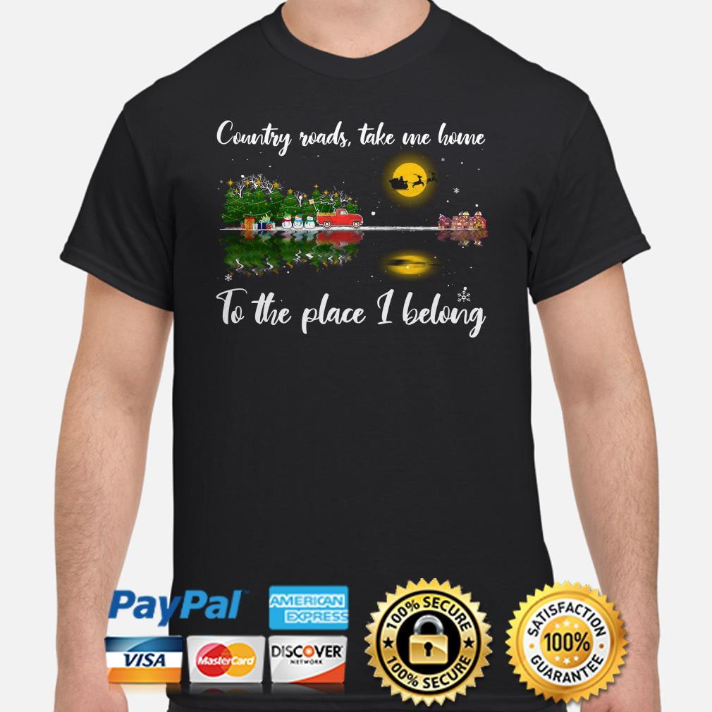 Guitar forest Christmas country roads take me home to the place I belong shirt
