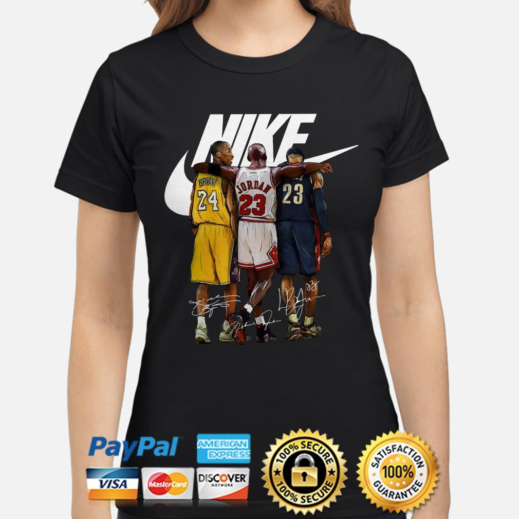 Kobe Bryant, Michael Jordan and LeBron James Nike signature ladies shirt