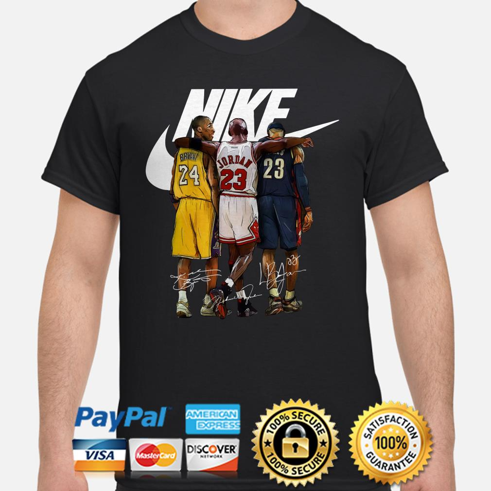 Kobe Bryant, Michael Jordan and LeBron James Nike signature shirt