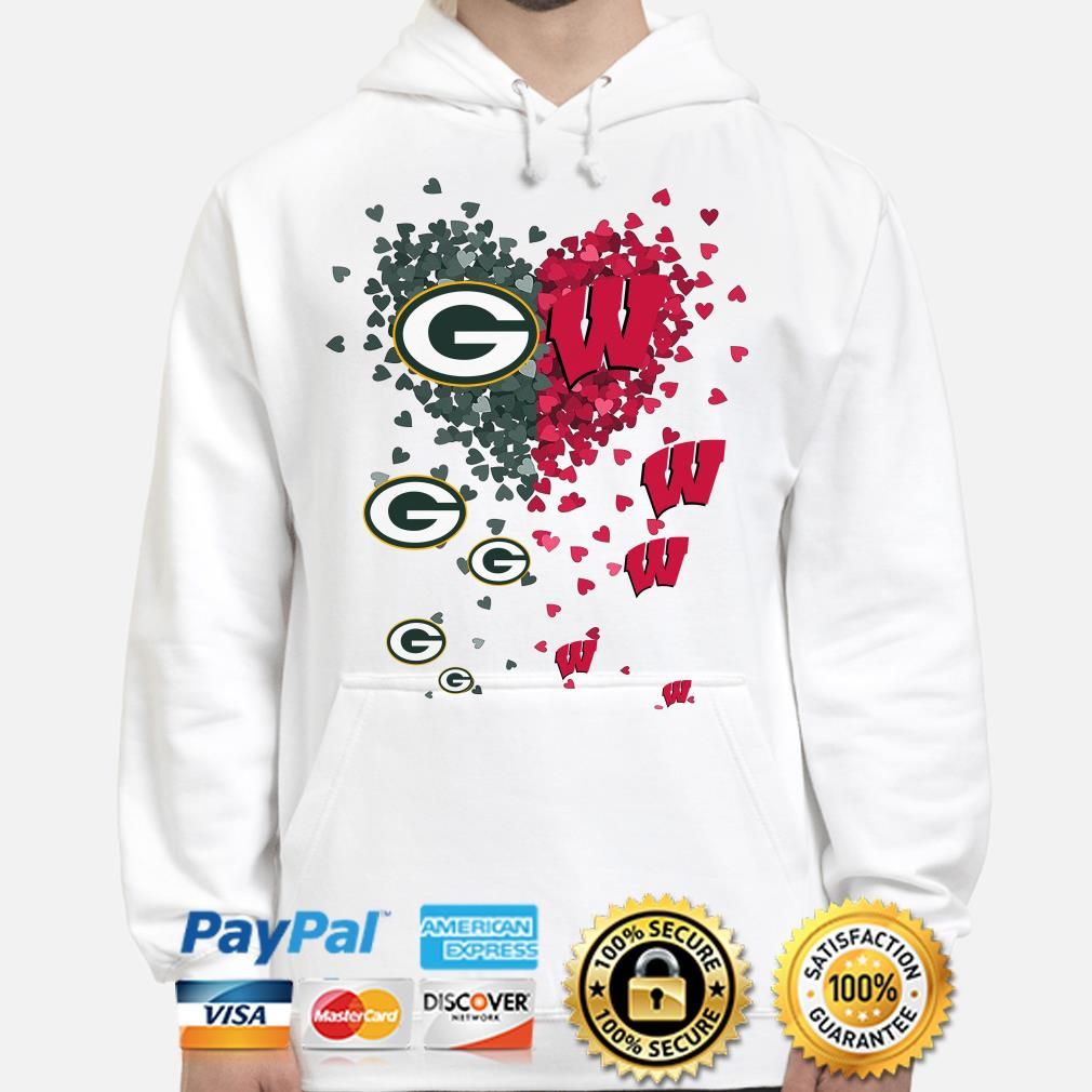 Love Green Bay Parkers and Wisconsin Badgers hearts hoodie