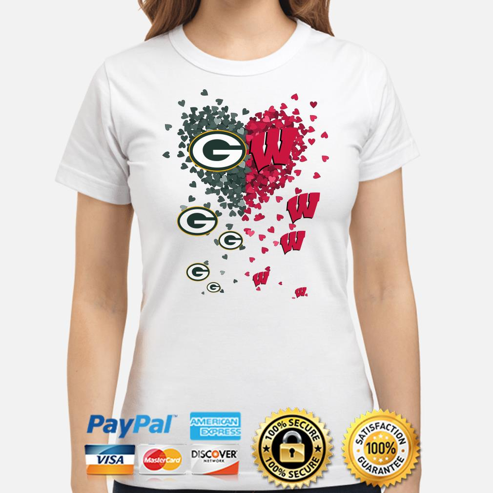 Love Green Bay Parkers and Wisconsin Badgers hearts ladies shirt