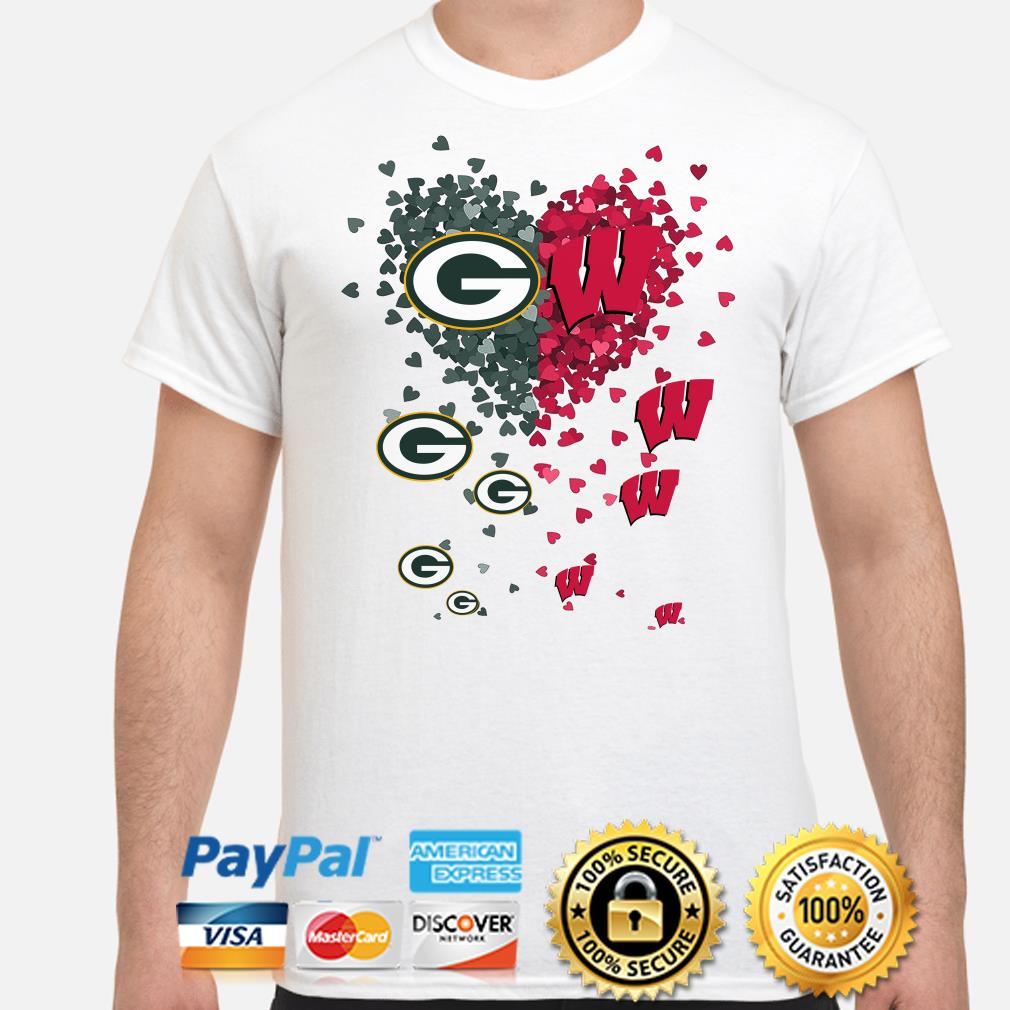Love Green Bay Parkers and Wisconsin Badgers hearts shirt