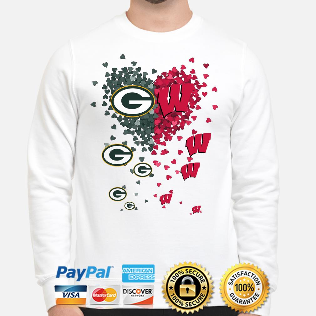 Love Green Bay Parkers and Wisconsin Badgers hearts sweater