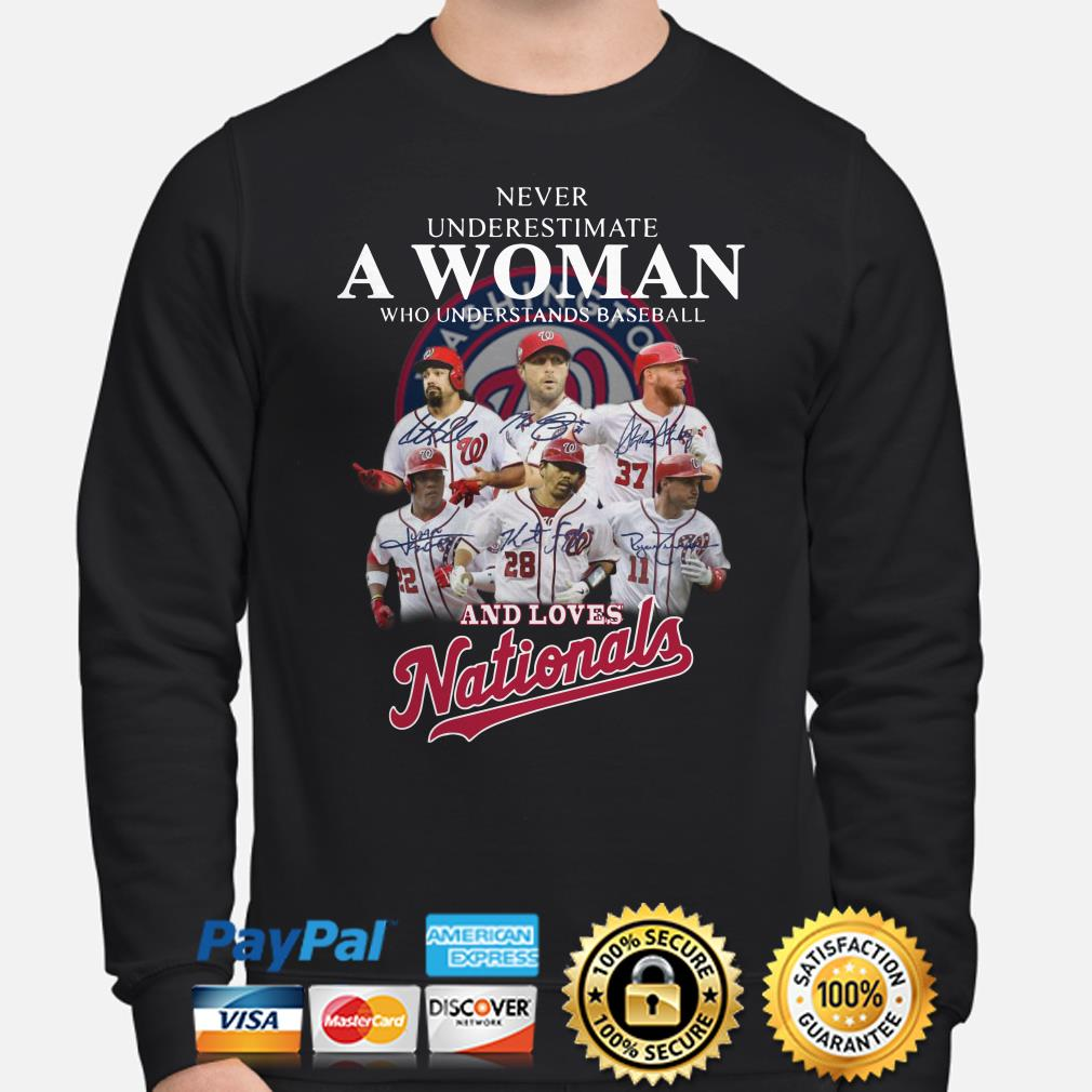 Never underestimate a woman who understands baseball and loves Nationals sweater