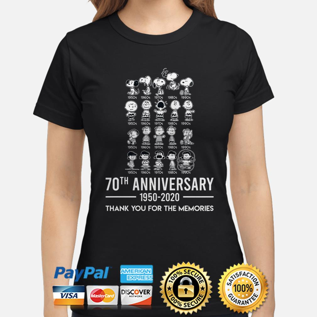 Peanut 70th Anniversary thank you for the memories ladies shirt