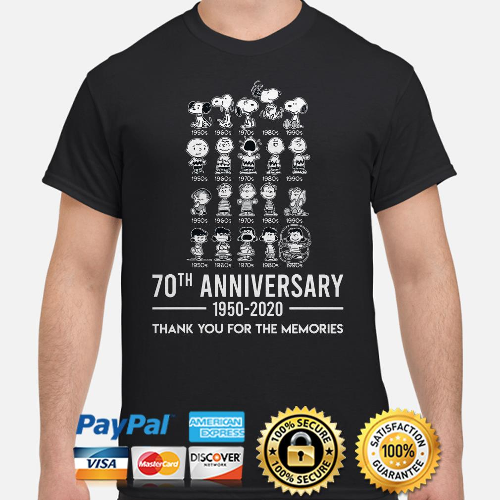 Peanut 70th Anniversary thank you for the memories shirt