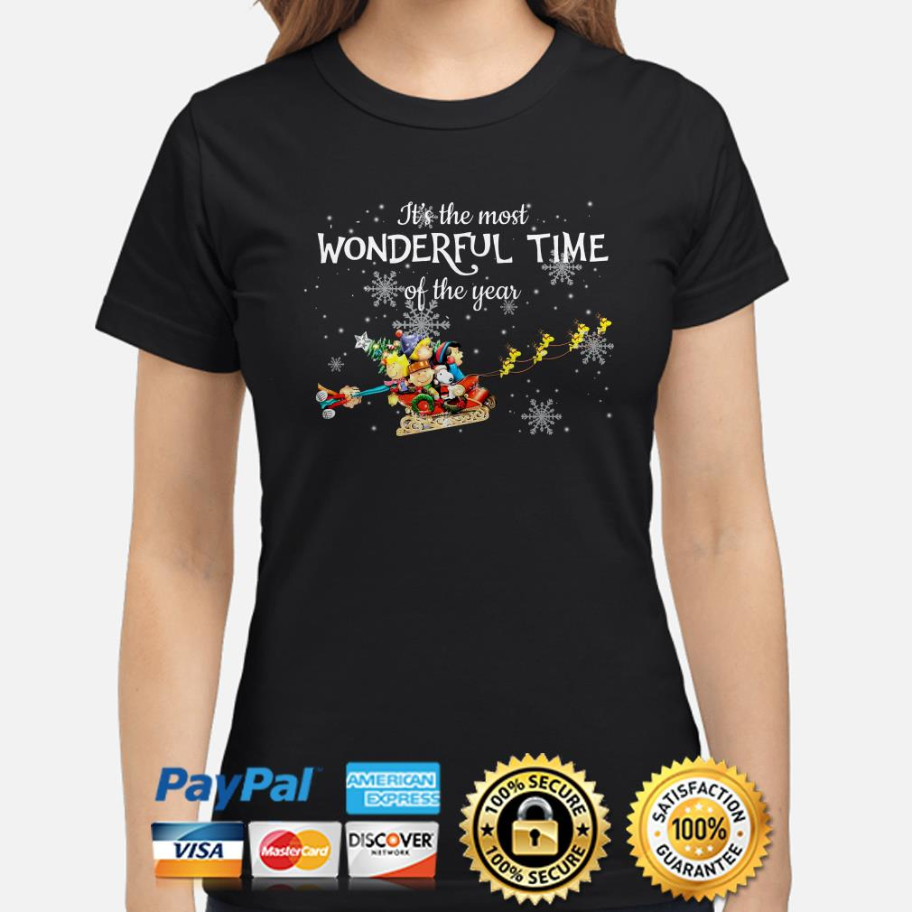 Peanut characters It's the most wonderful time of the year Christmas ladies shirt