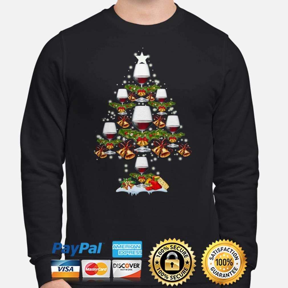 Red wine Glasses Christmas tree sweater