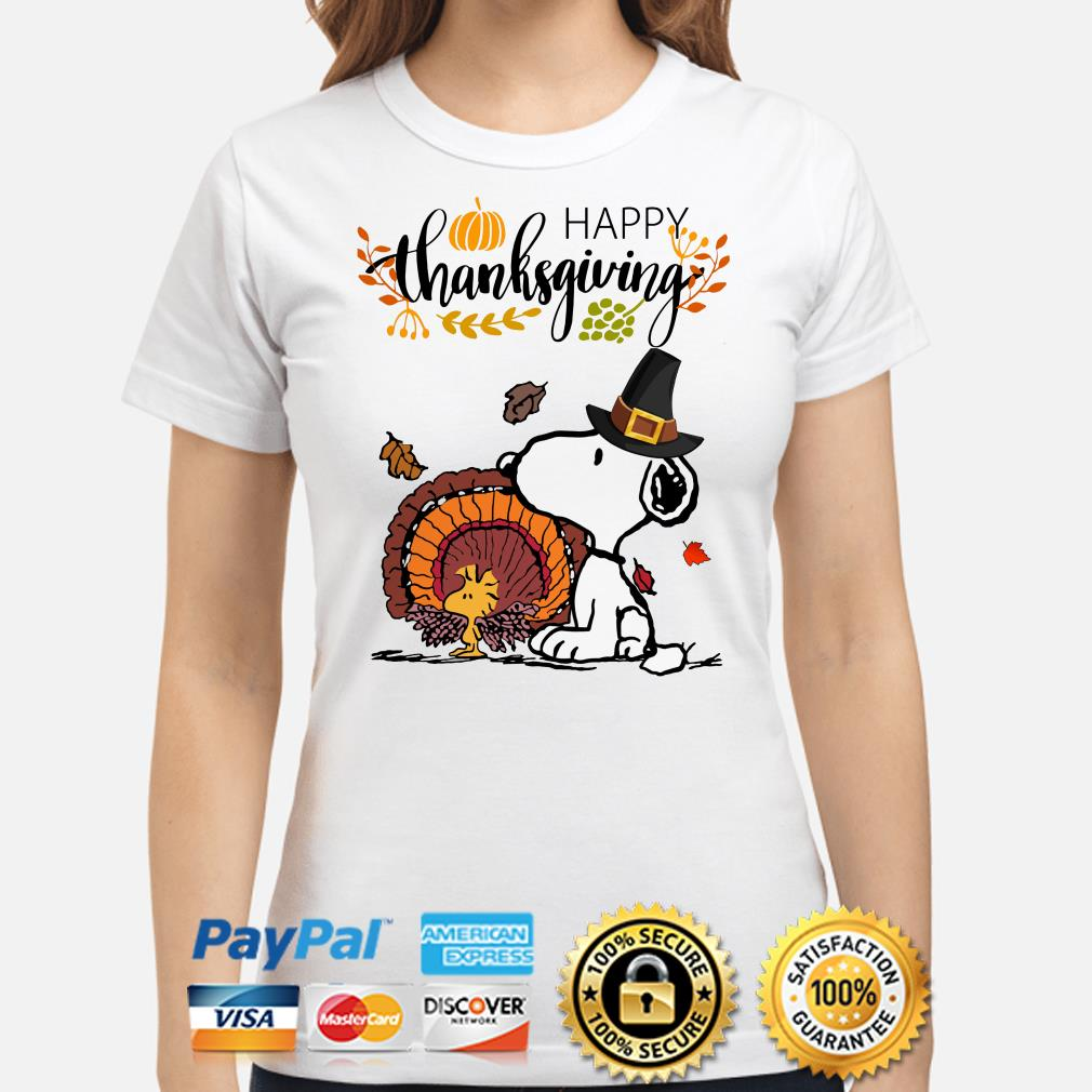 Snoopy and Woodstock Turkey Happy Thanksgiving ladies shirt