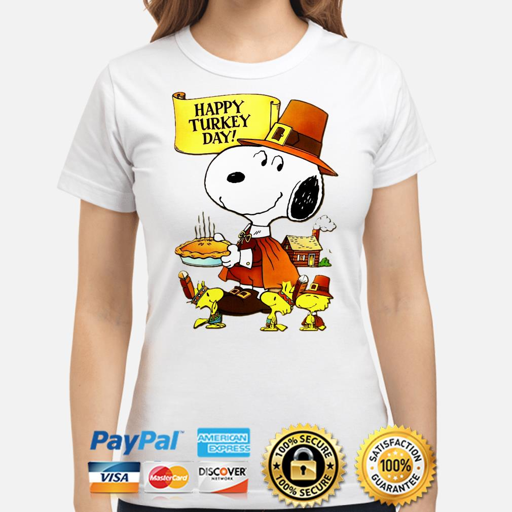Snoopy and Woodstocks Turkey Happy Turkey day ladies shirt