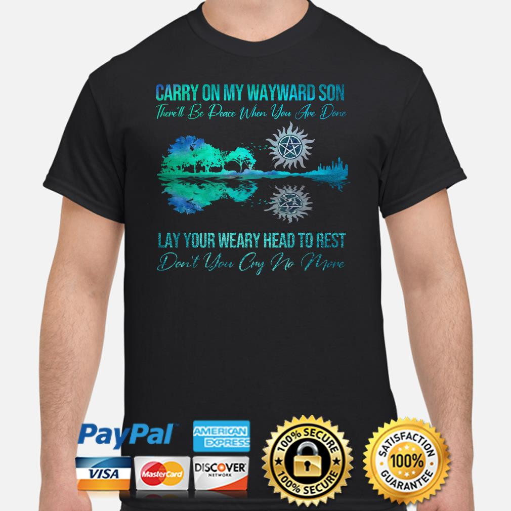 Supernatural guitar forest carry on my wayward son lay your weary head to rest shirt
