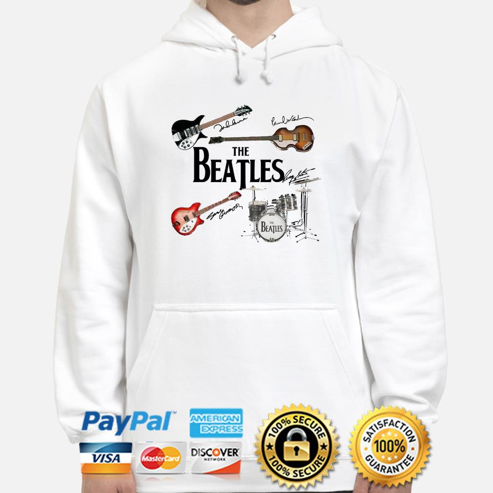 The Beatles musical instrument signatures hoodie