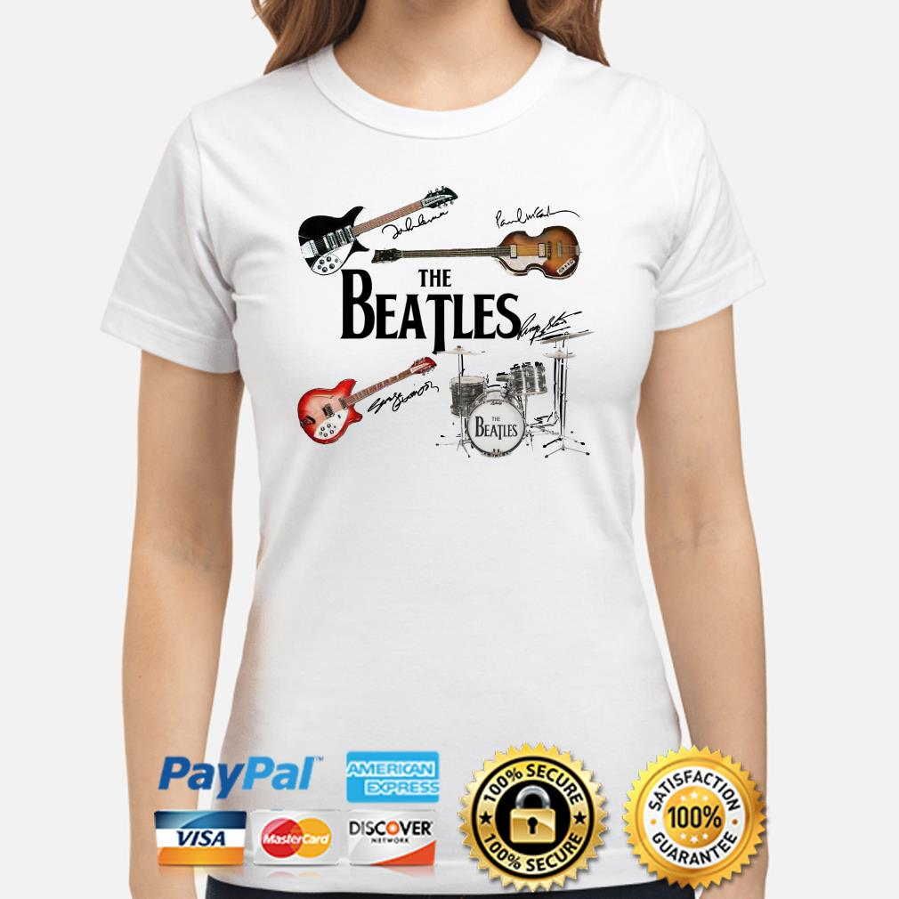 The Beatles musical instrument signatures ladies shirt