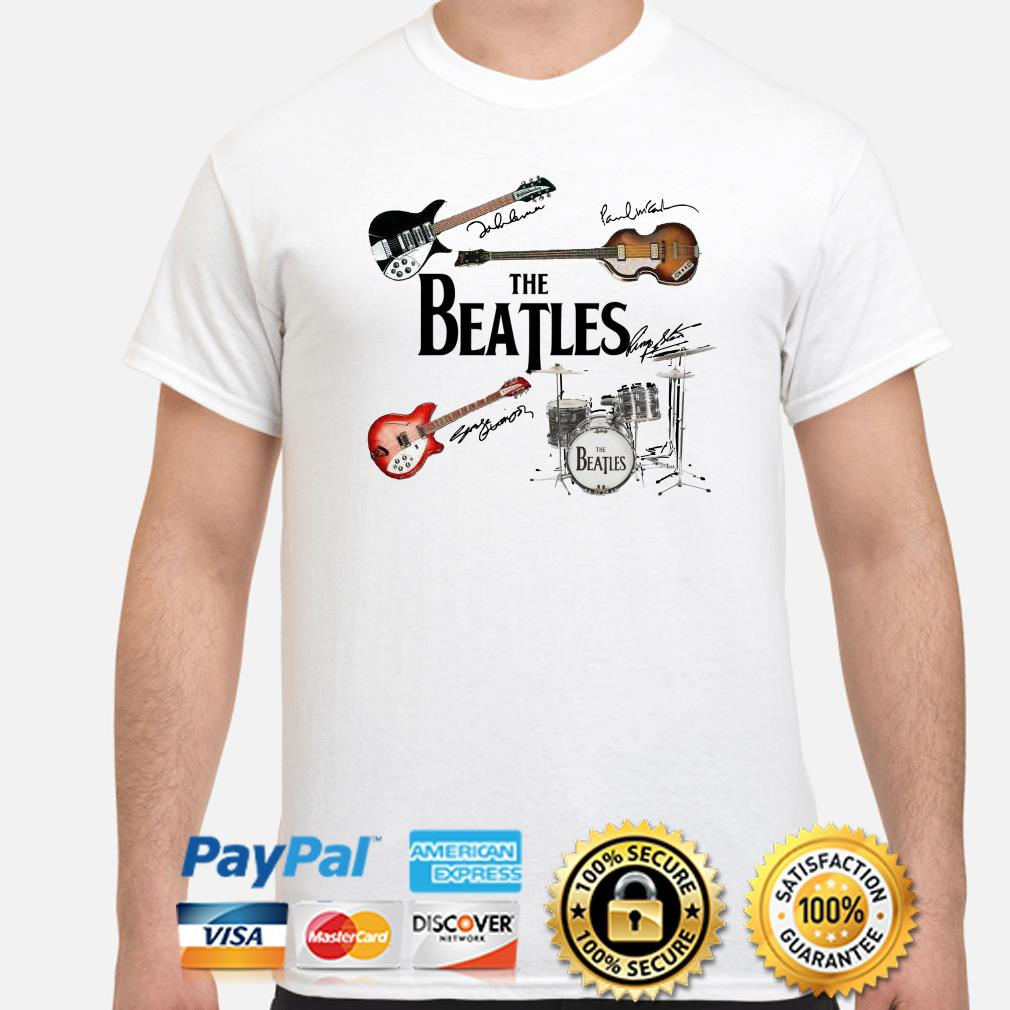 The Beatles musical instrument signatures shirt