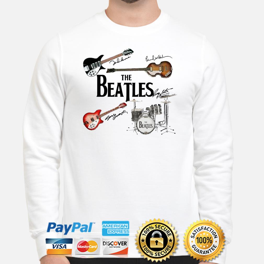 The Beatles musical instrument signatures sweater