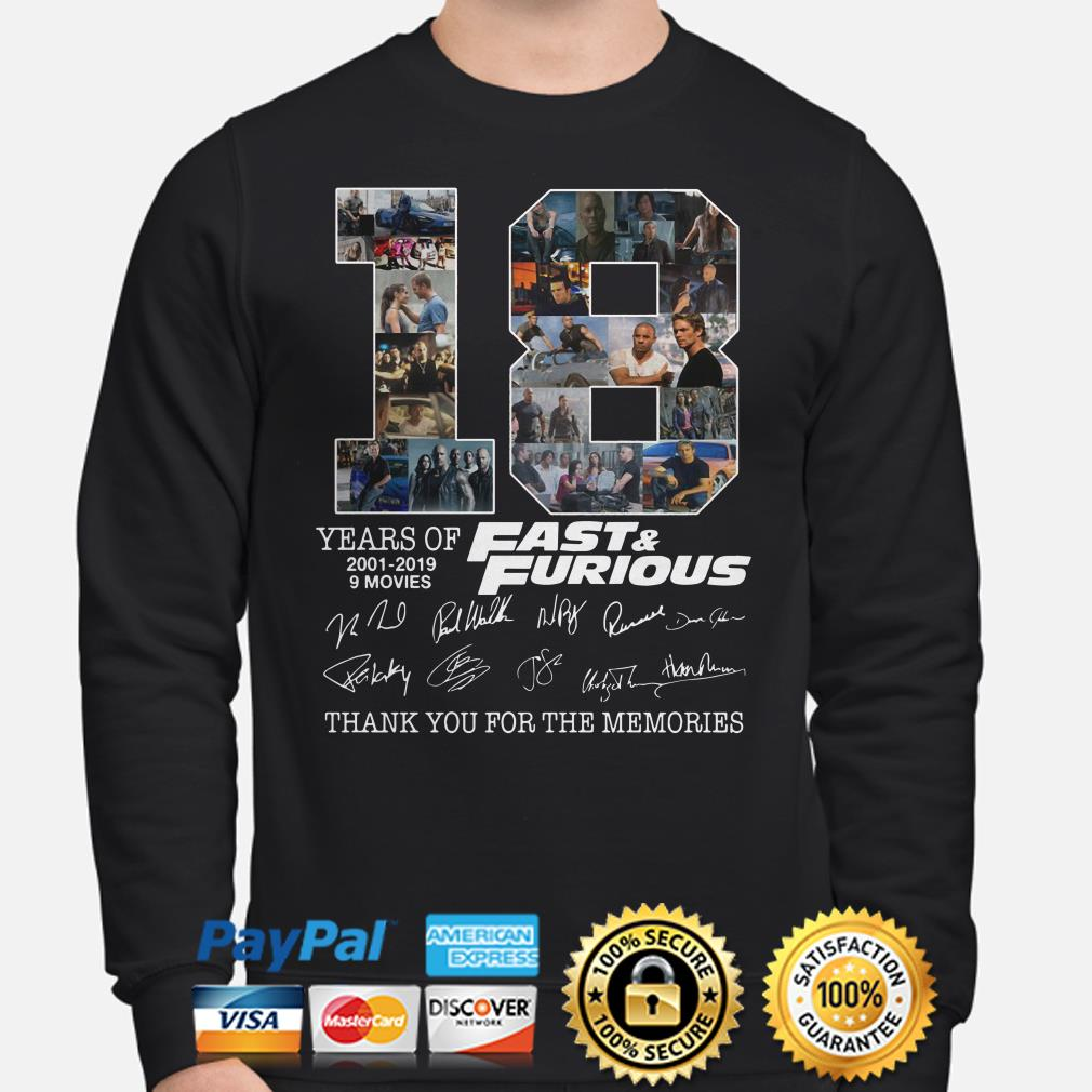 18 years of Fast and Furious thank you for the memories signature Sweater