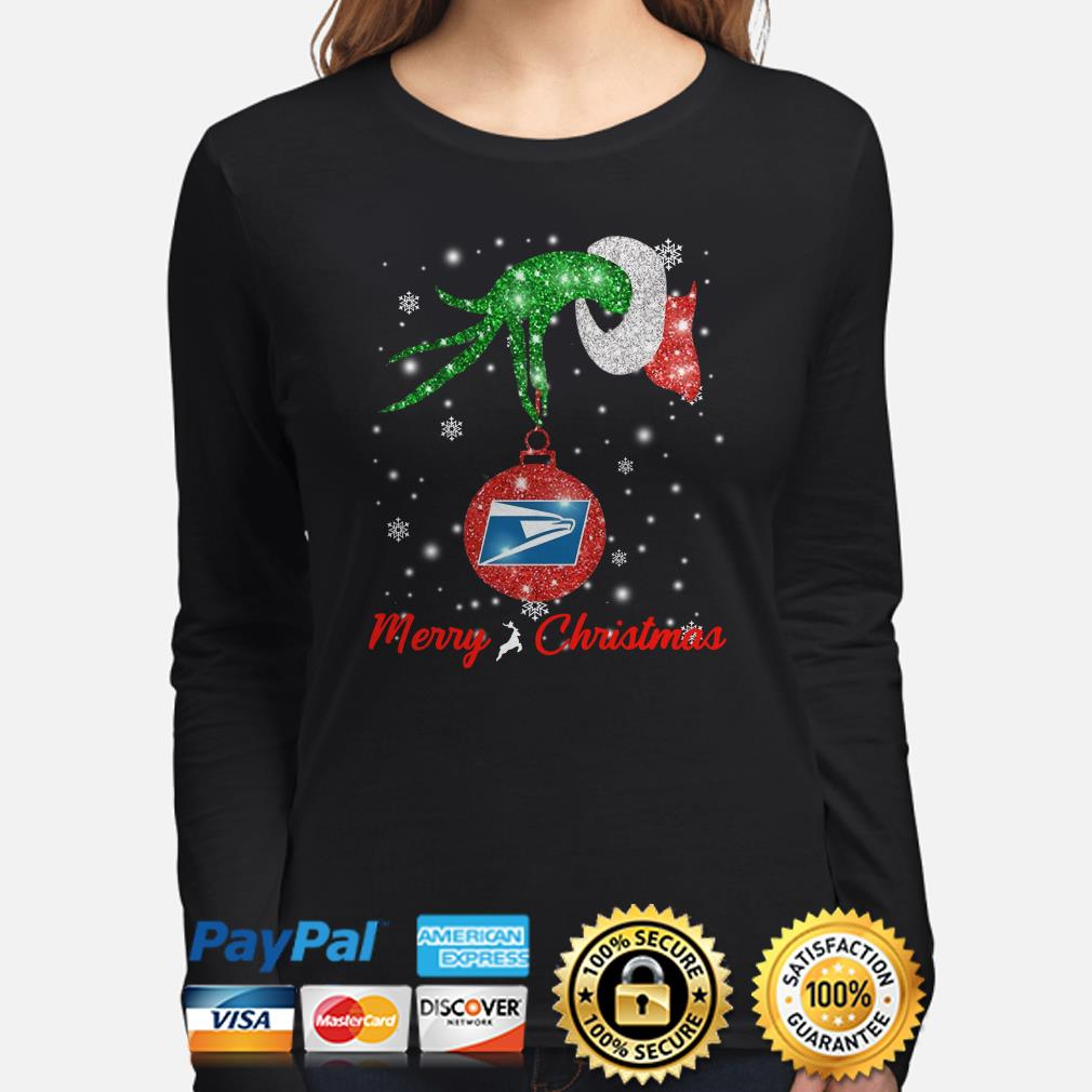 Grinch hand hold USPS ornament Christmas long sleeve