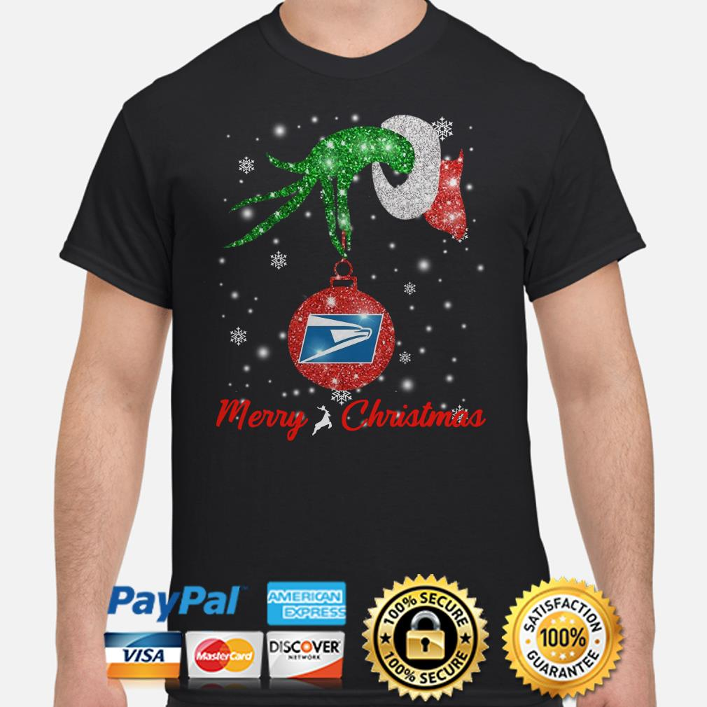 Grinch hand hold USPS ornament Christmas t-shirt