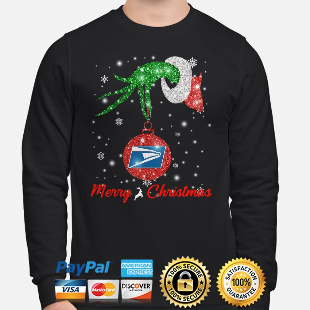 Grinch hand hold USPS ornament Christmas sweater