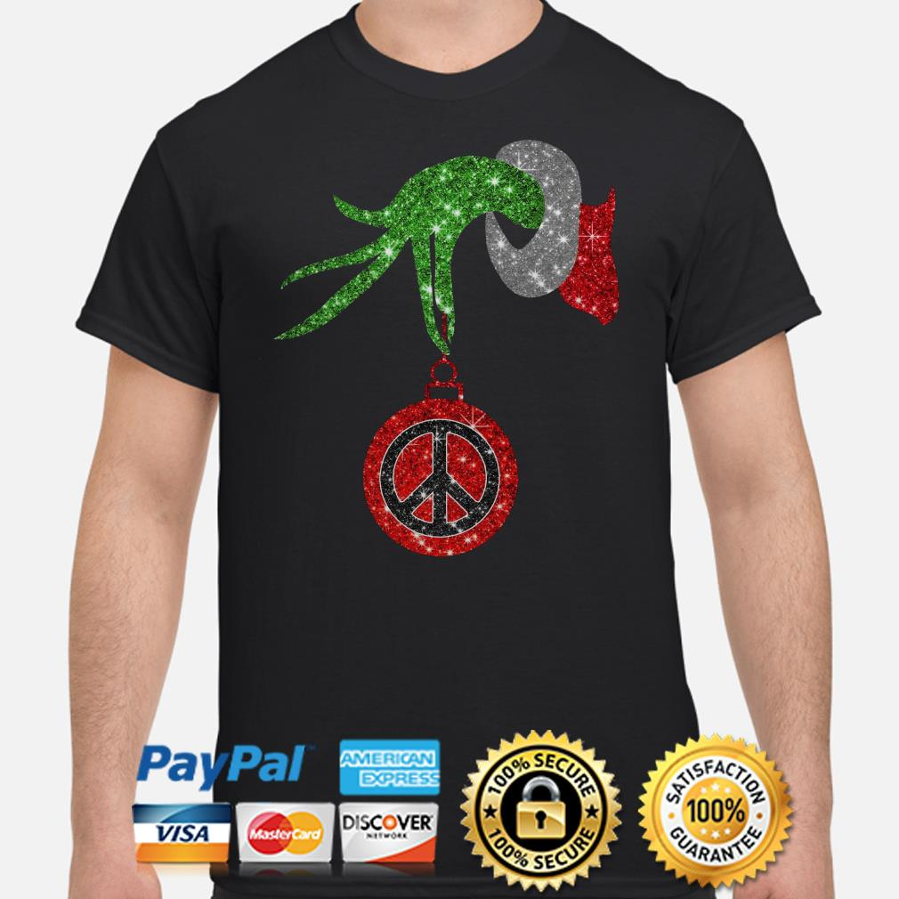 Grinch's hand holding Hippie peace ornament Christmas shirt