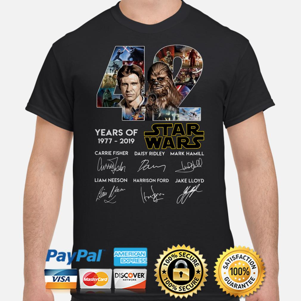 Han Solo and Chewbacca 32 years of Star Wars signature shirt