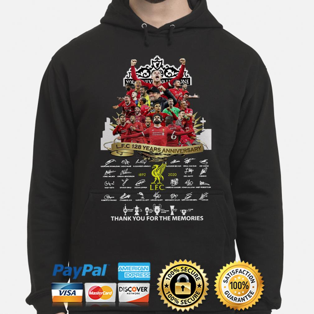 Liverpool FC 128 years anniversary thank you for the memories hoodie