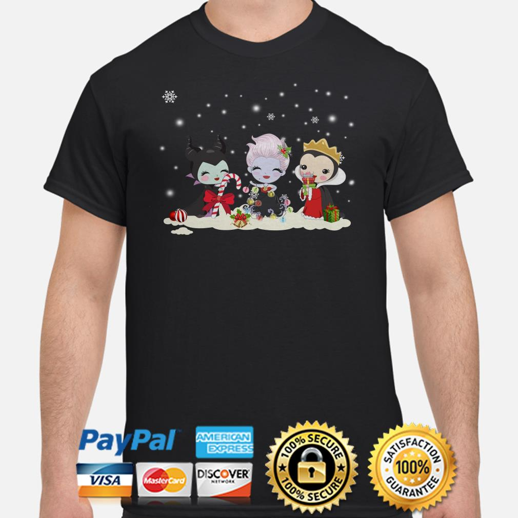 Maleficent Ursula and Evil Queen chibi Christmas shirt