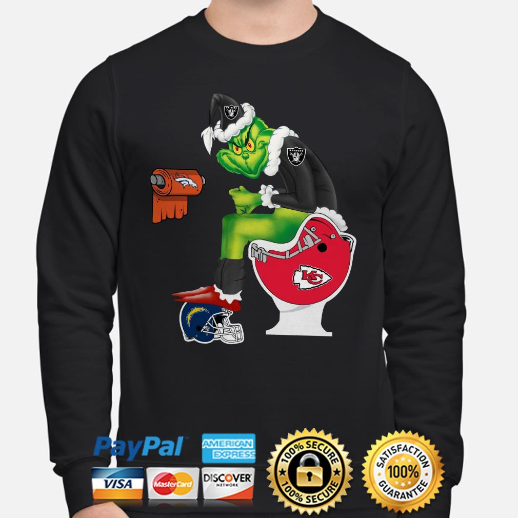 Oakland Raiders Grinch sitting on Kansas City Chiefs toilet Christmas sweater