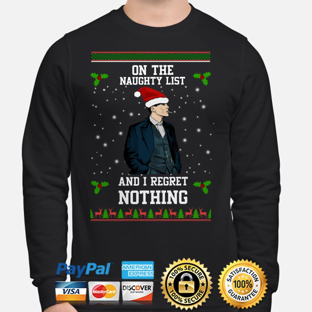 Peaky Blinders in the naughty list and I regret nothing ugly Christmas sweater