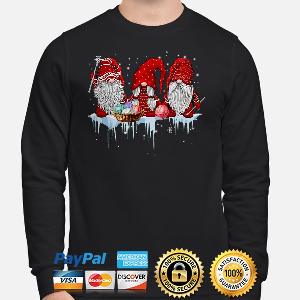 Red Gnomes knitting Christmas sweater