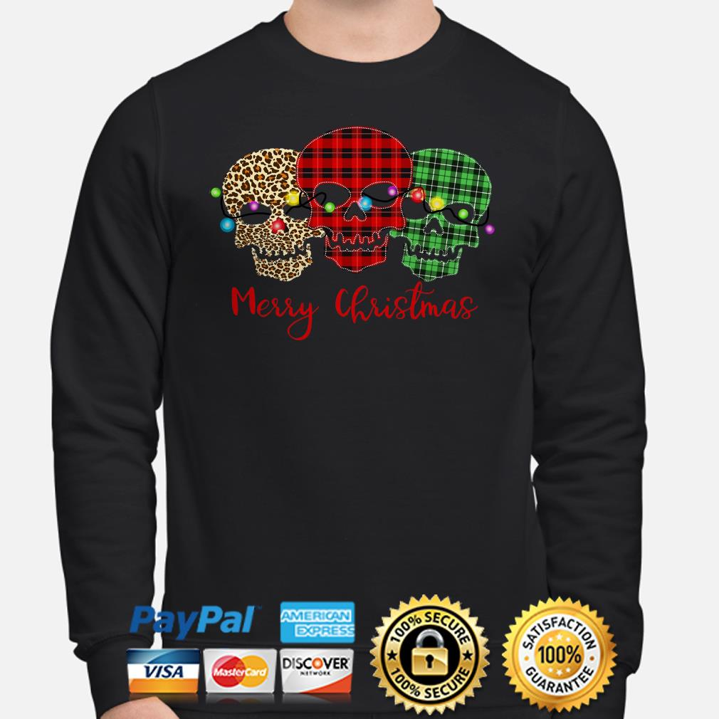Skulls leopard buffalo plaid Merry Christmas hoodie