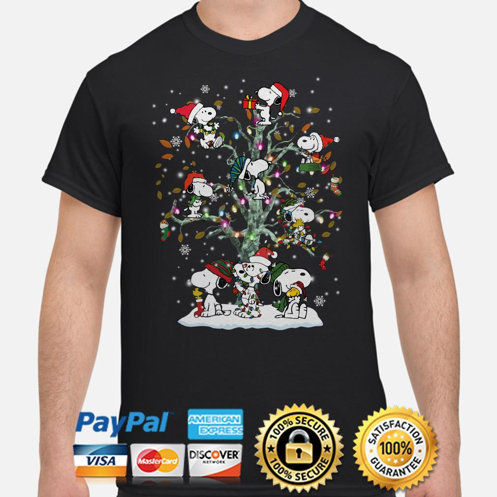 Snoopy Christmas lights tree shirt