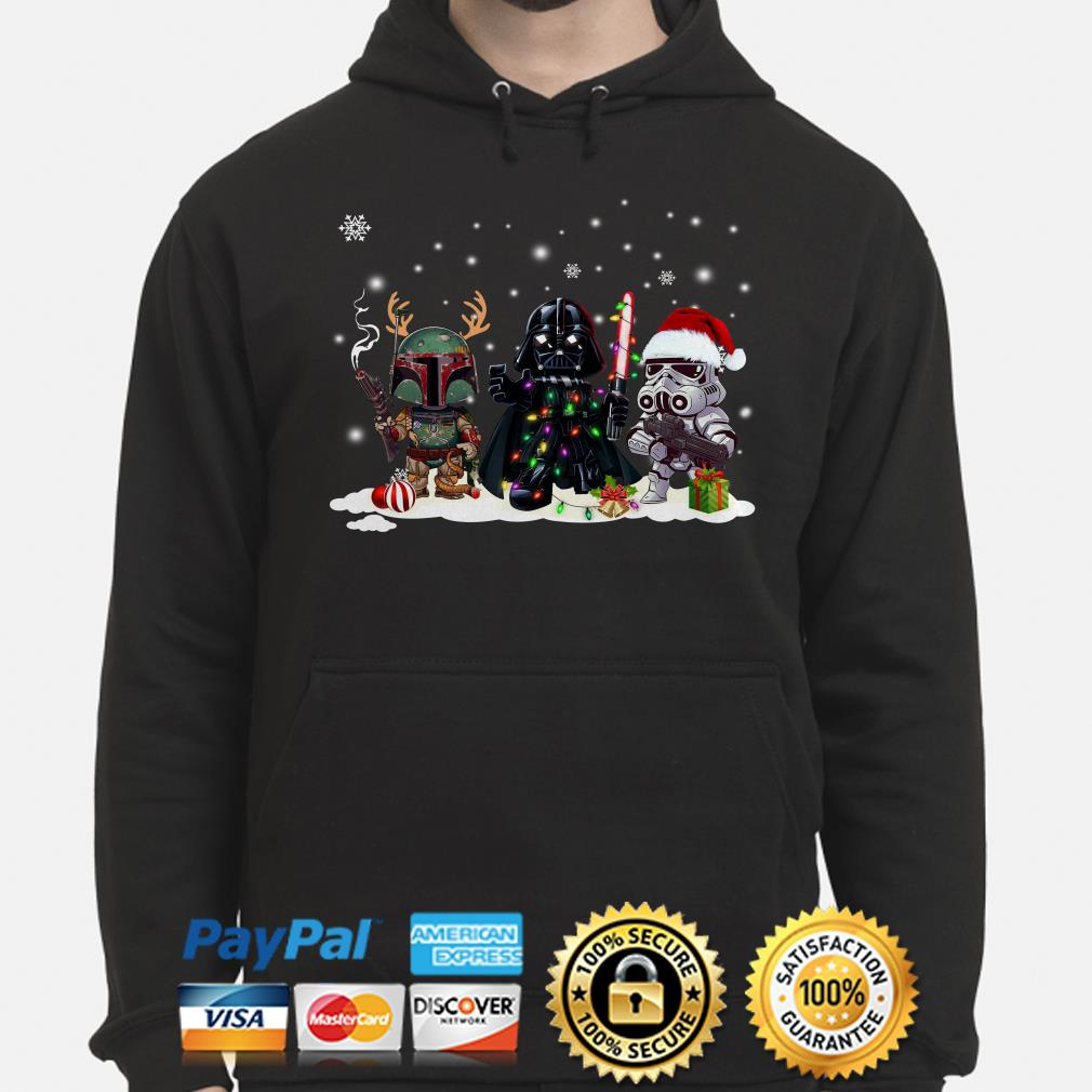 Star Wars Boba Fett Darth Vader and Stormtrooper chibi Christmas hoodie