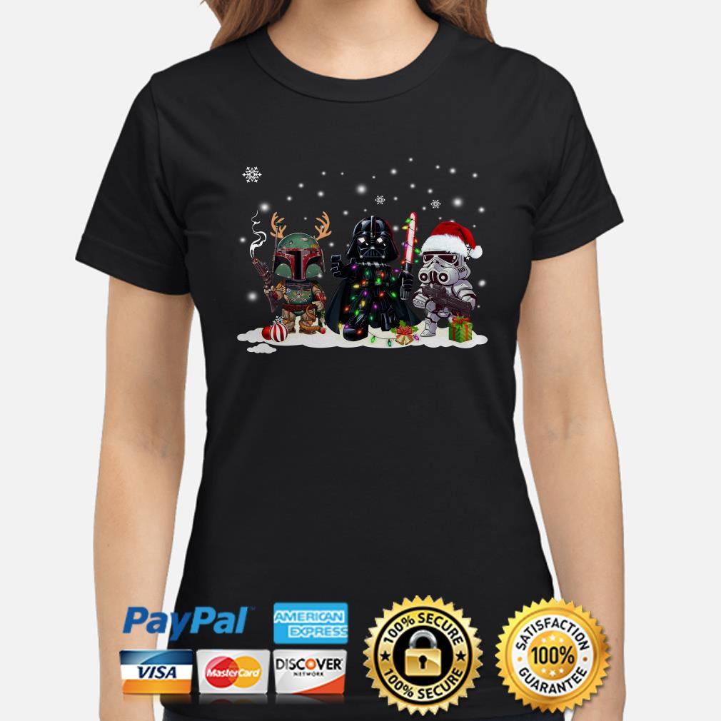 Star Wars Boba Fett Darth Vader and Stormtrooper chibi Christmas ladies shirt