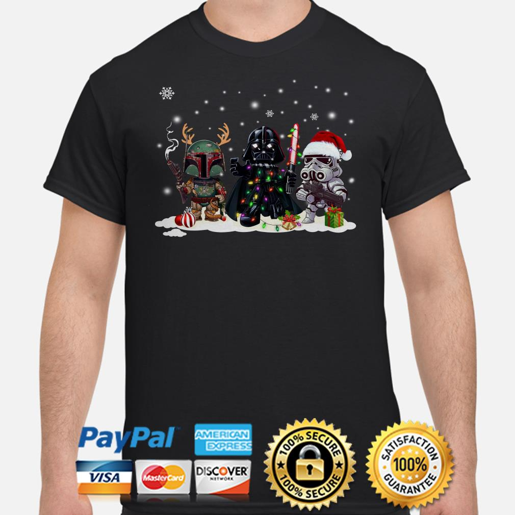 Star Wars Boba Fett Darth Vader and Stormtrooper chibi Christmas shirt