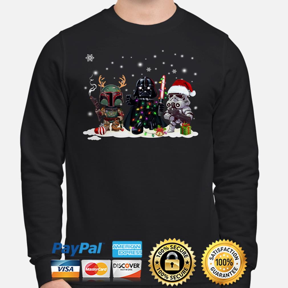 Star Wars Boba Fett Darth Vader and Stormtrooper chibi Christmas sweater