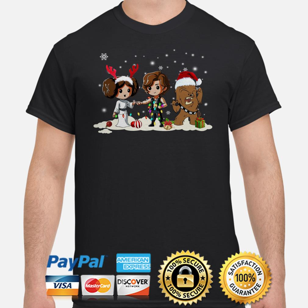Star Wars Princess Leia Han Solo and Chewbacca Chibi Christmas shirt