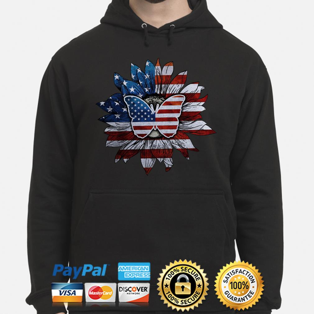 Sunflower and butterfly American flag Hoodie