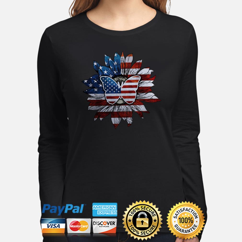 Sunflower and butterfly American flag Long sleeve