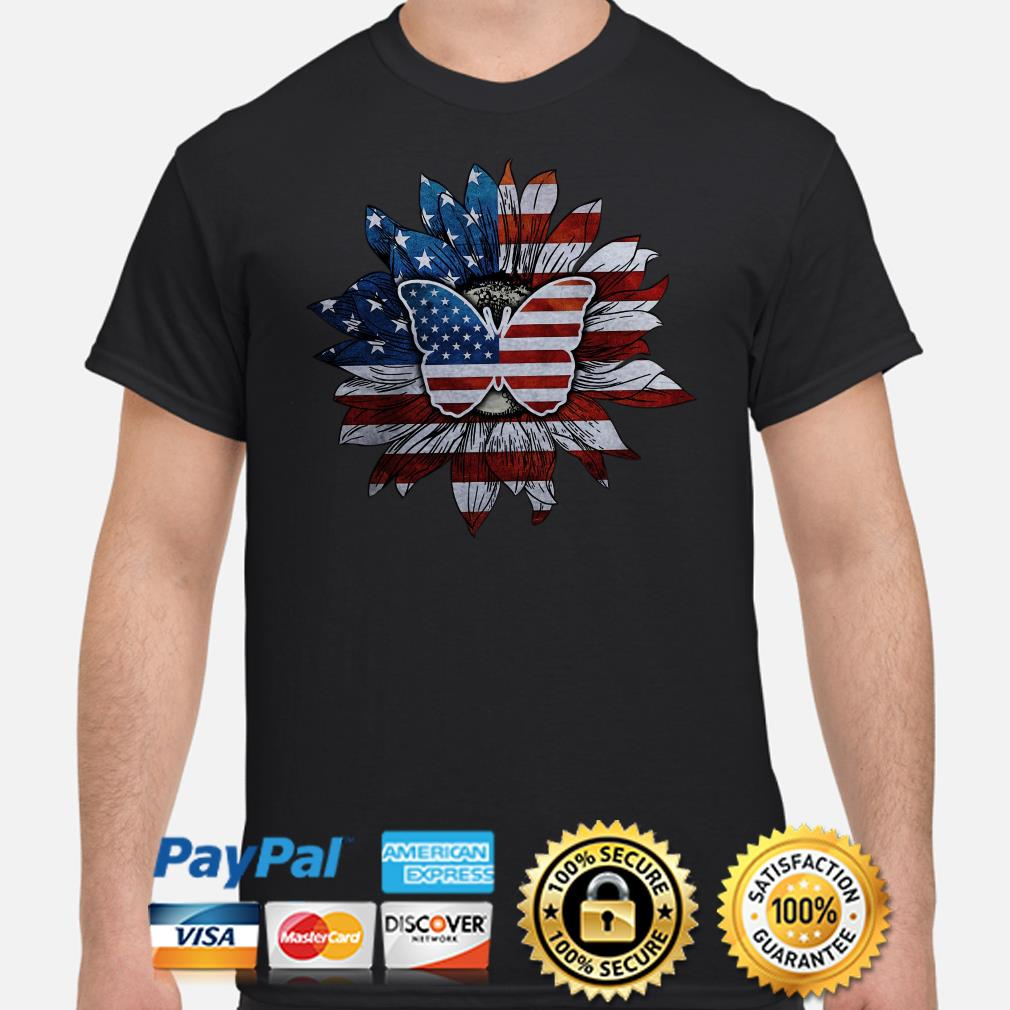 Sunflower and butterfly American flag shirt