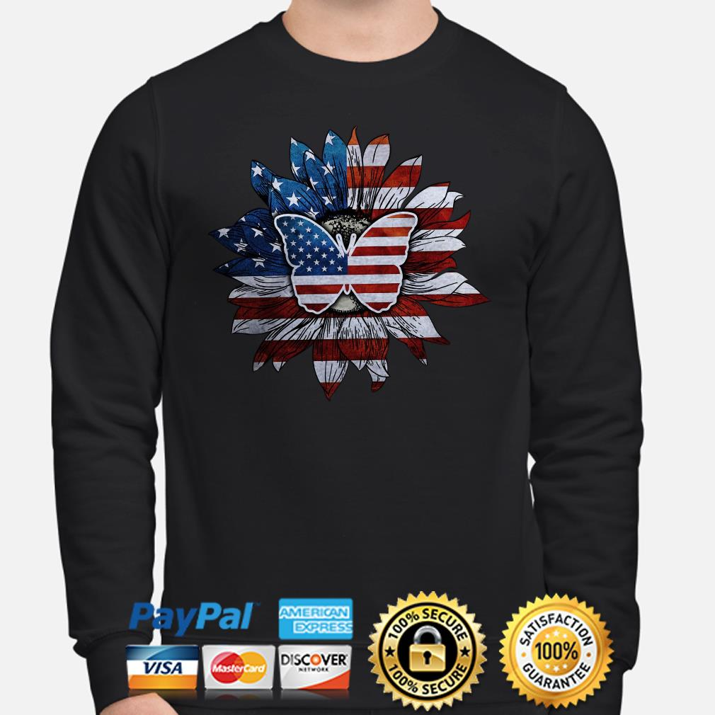 Sunflower and butterfly American flag Sweater